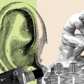 Grafisk bild på ett öra och en staty