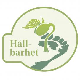 """Bilden illustrerar ett mörkgrönt fotavtryck och en bönstjälk samt texten """"Hållbarhet"""" i ljusare grönt."""